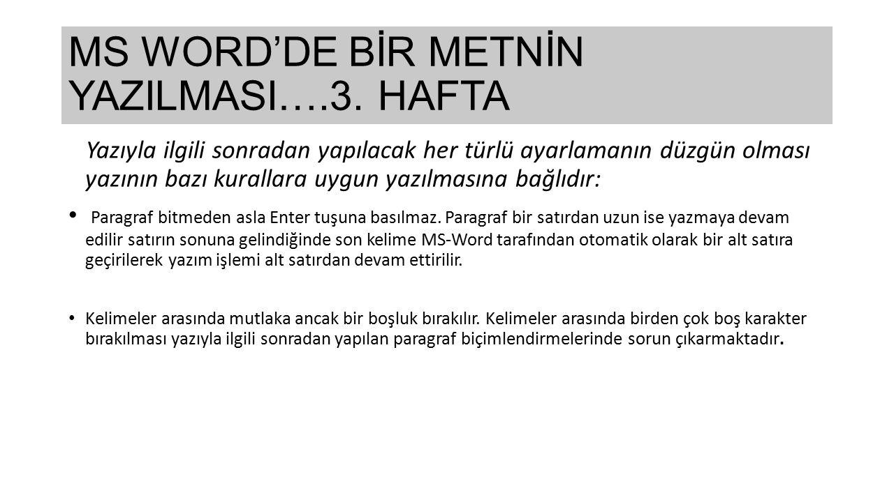MS WORD'DE BİR METNİN YAZILMASI….3. HAFTA