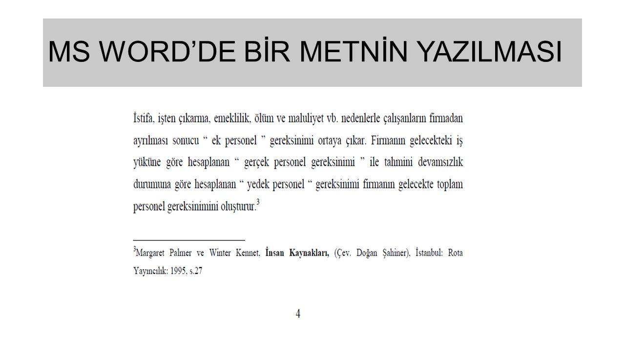 MS WORD'DE BİR METNİN YAZILMASI