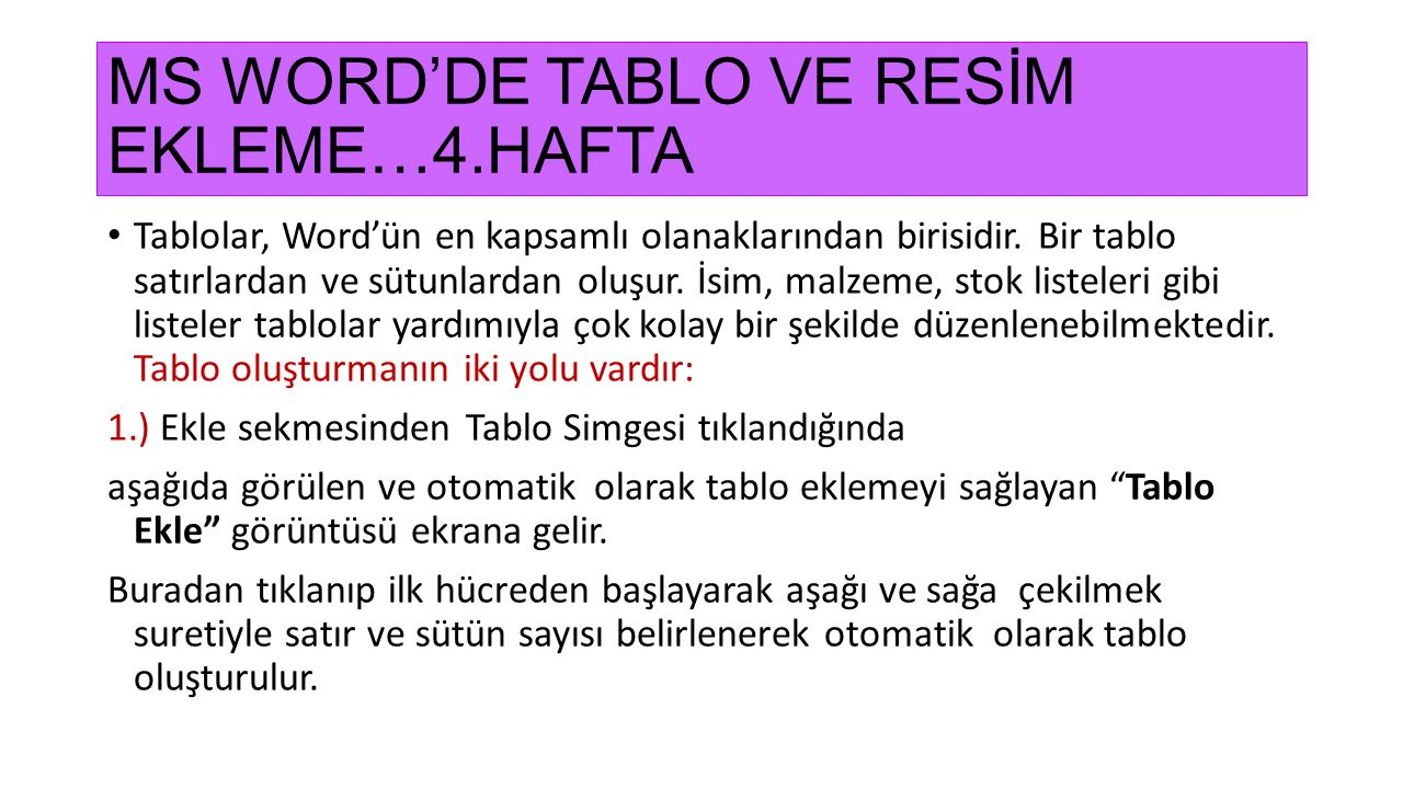 MS WORD'DE TABLO VE RESİM EKLEME…4.HAFTA