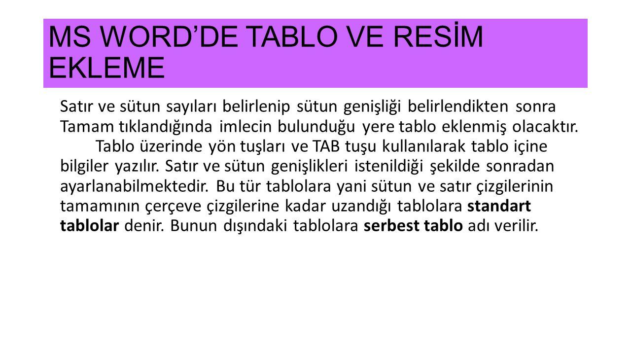 MS WORD'DE TABLO VE RESİM EKLEME