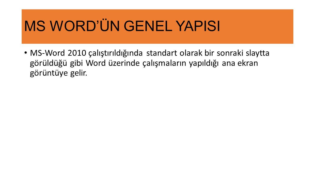 MS WORD'ÜN GENEL YAPISI