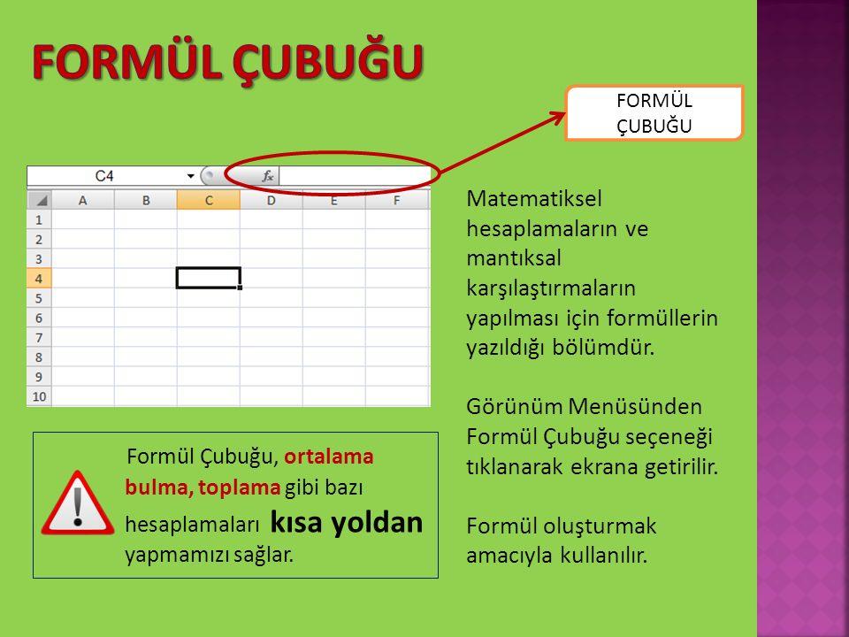 Formül Çubuğu FORMÜL ÇUBUĞU. Matematiksel hesaplamaların ve mantıksal karşılaştırmaların yapılması için formüllerin yazıldığı bölümdür.