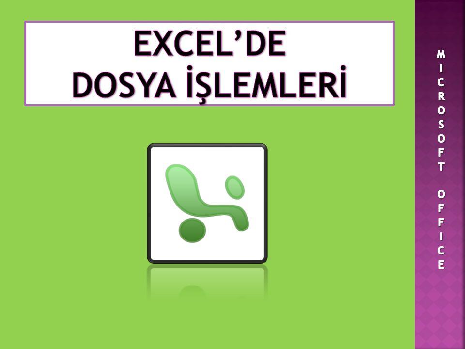 EXCEL'DE DOSYA İŞLEMLERİ