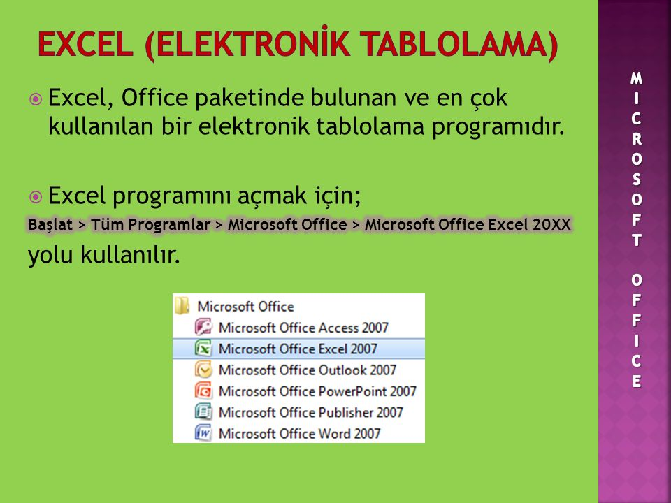 EXCEL (ELEKTRONİK TABLOLAMA)