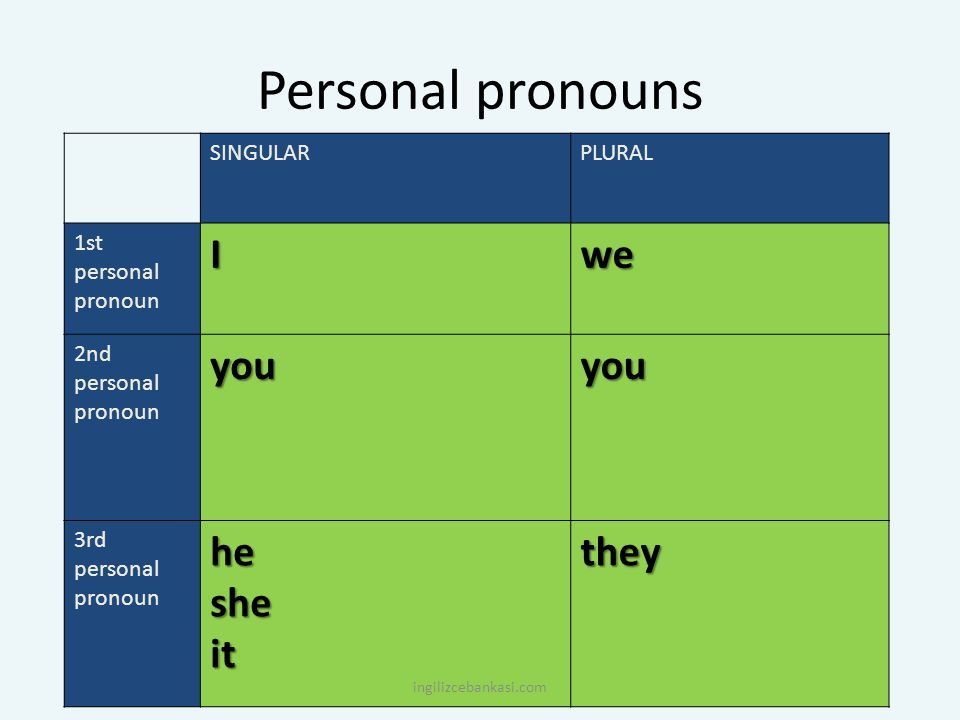 Personal pronouns I we you he she it they SINGULAR PLURAL