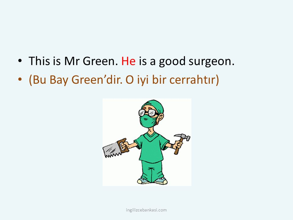 This is Mr Green. He is a good surgeon.