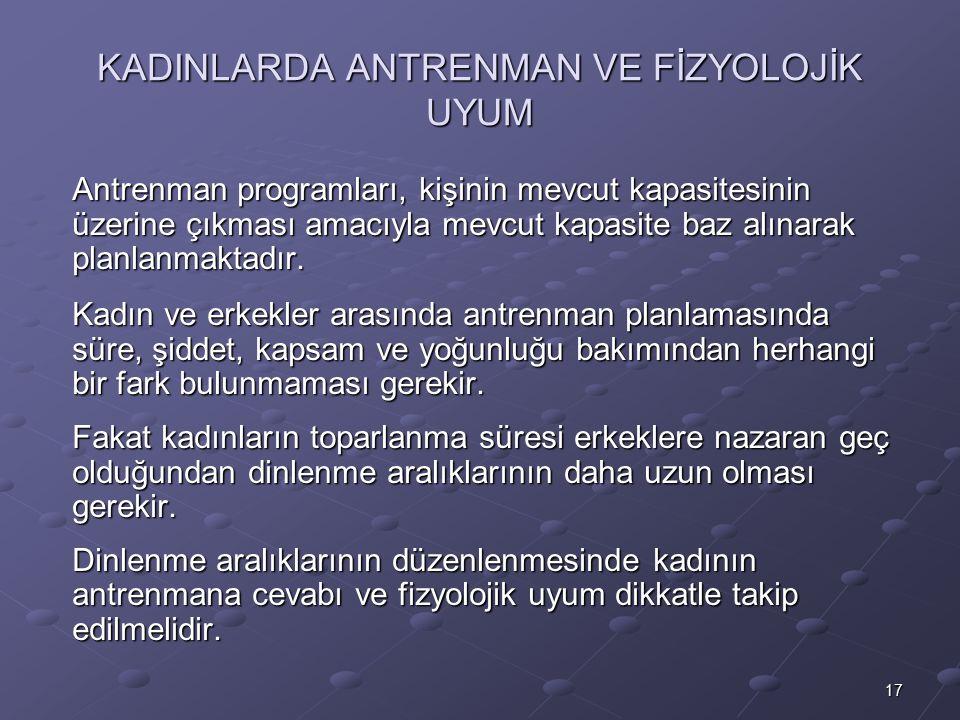 KADINLARDA ANTRENMAN VE FİZYOLOJİK UYUM