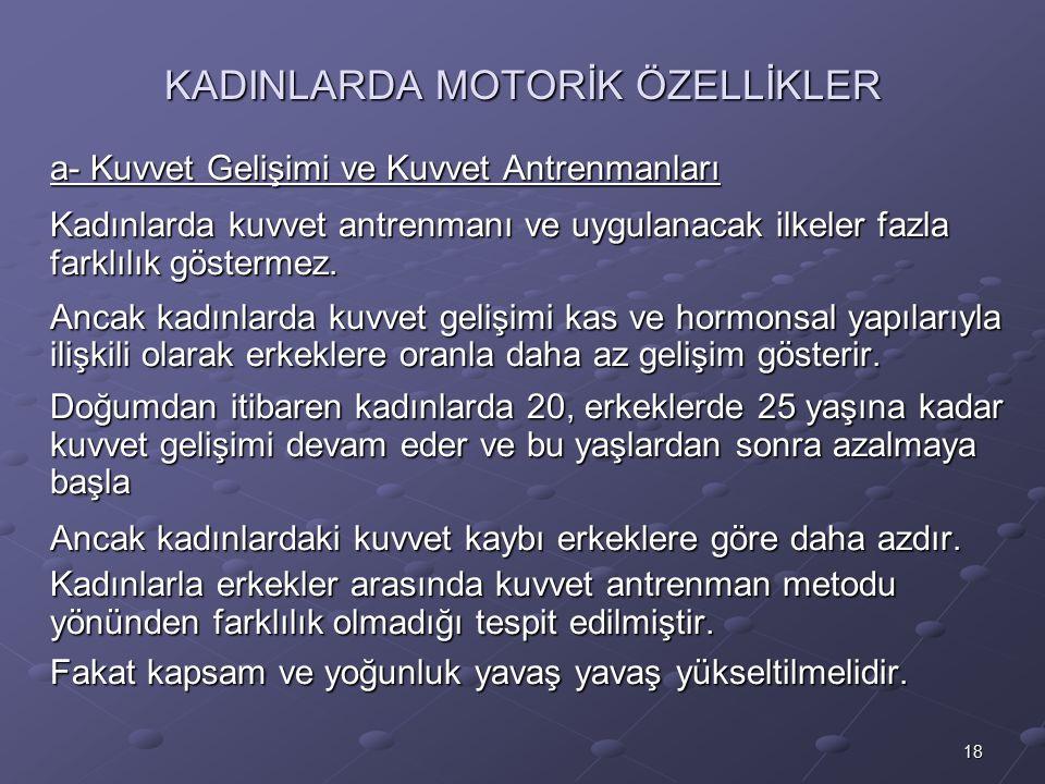KADINLARDA MOTORİK ÖZELLİKLER