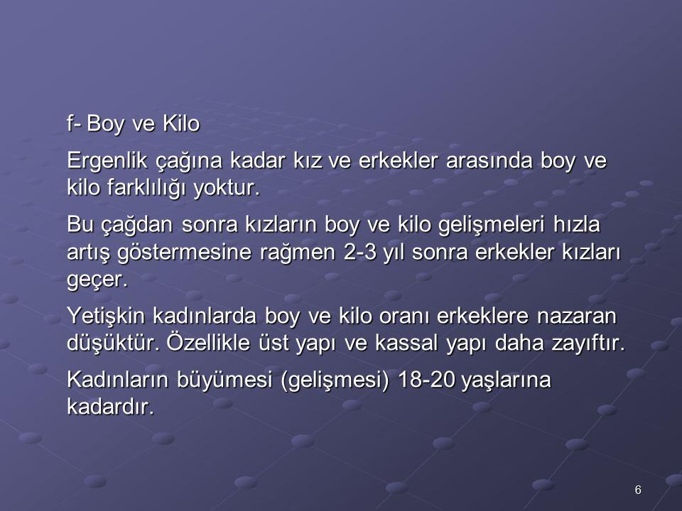 f- Boy ve Kilo Ergenlik çağına kadar kız ve erkekler arasında boy ve kilo farklılığı yoktur.
