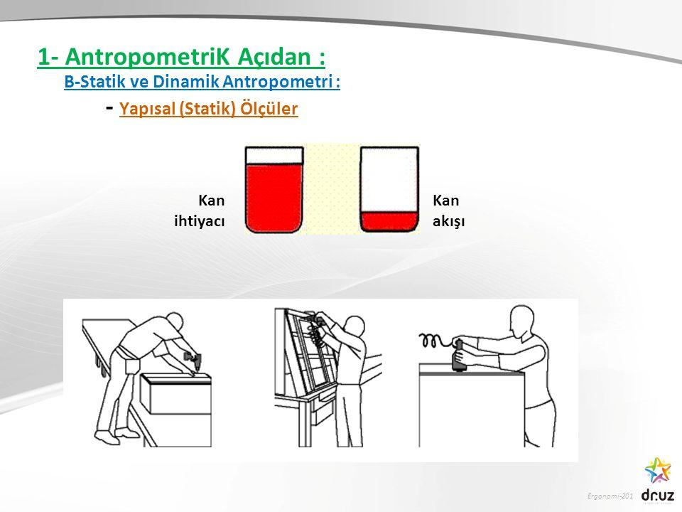 1- AntropometriK Açıdan : B-Statik ve Dinamik Antropometri :