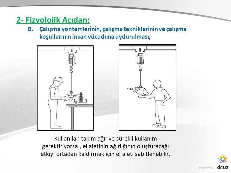 2- Fizyolojik Açıdan: Çalışma yöntemlerinin, çalışma tekniklerinin ve çalışma koşullarının insan vücuduna uydurulması,