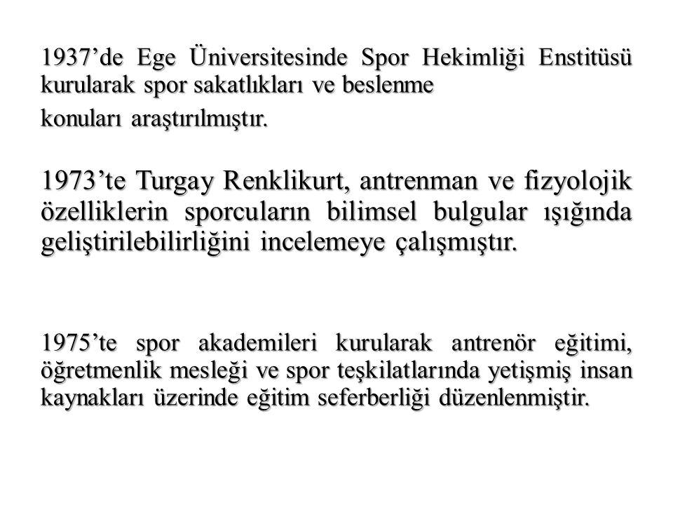 1937'de Ege Üniversitesinde Spor Hekimliği Enstitüsü kurularak spor sakatlıkları ve beslenme