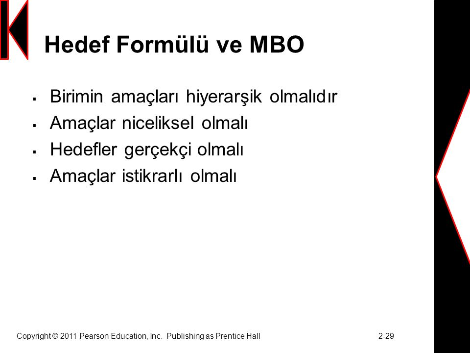 Hedef Formülü ve MBO Birimin amaçları hiyerarşik olmalıdır