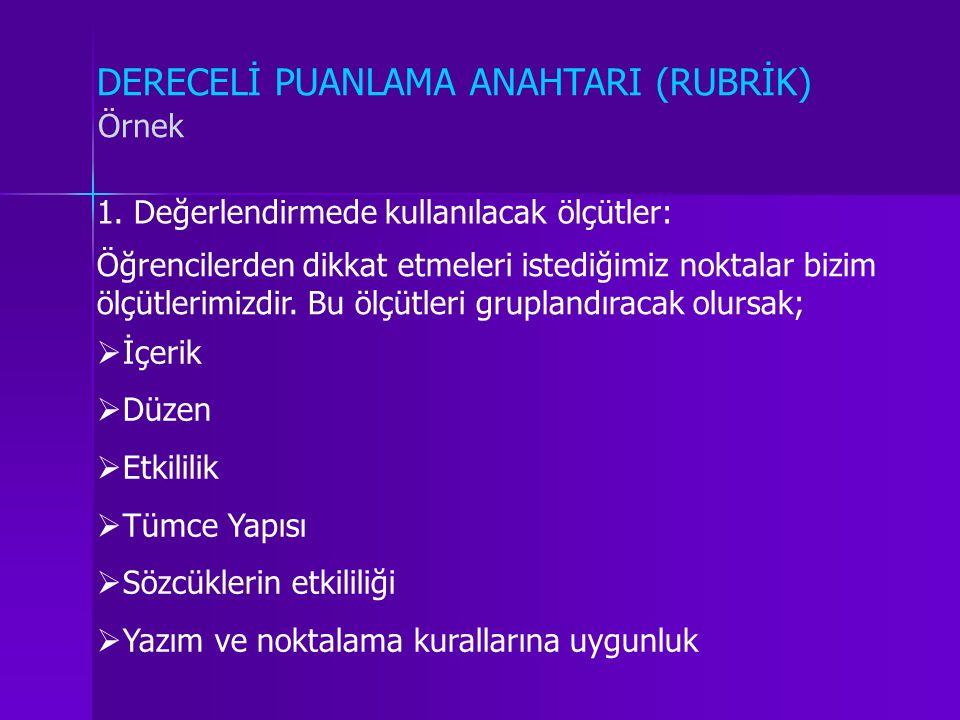DERECELİ PUANLAMA ANAHTARI (RUBRİK)
