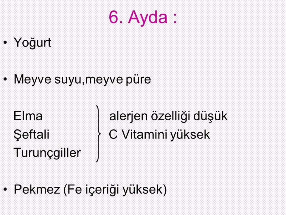 6. Ayda : Yoğurt Meyve suyu,meyve püre Elma alerjen özelliği düşük