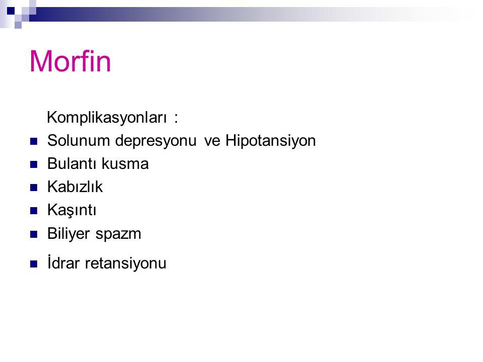 Morfin Komplikasyonları : Solunum depresyonu ve Hipotansiyon