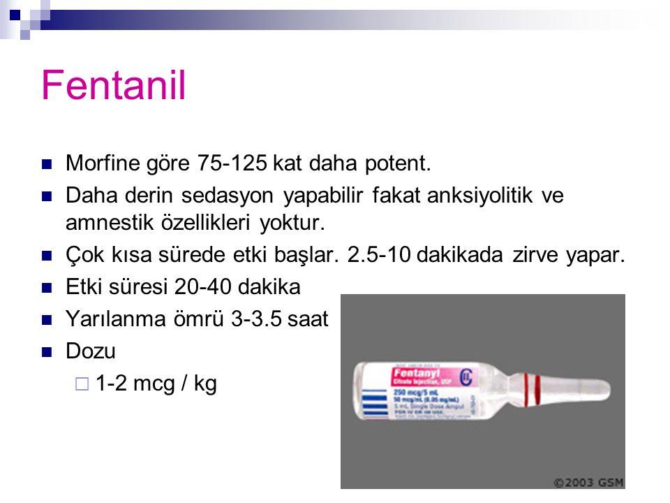 Fentanil Morfine göre 75-125 kat daha potent.