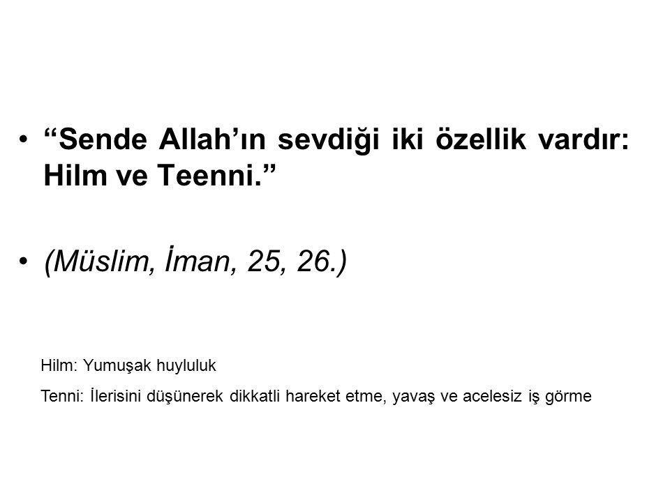 Sende Allah'ın sevdiği iki özellik vardır: Hilm ve Teenni.