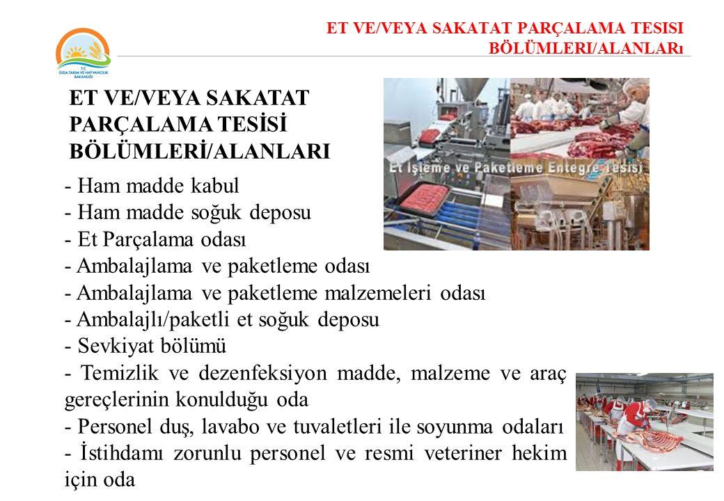 ET VE/VEYA SAKATAT PARÇALAMA TESİSİ BÖLÜMLERİ/ALANLARI
