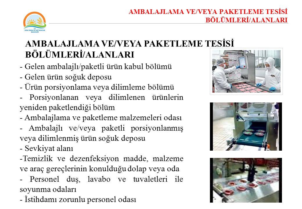 AMBALAJLAMA VE/VEYA PAKETLEME TESİSİ BÖLÜMLERİ/ALANLARI