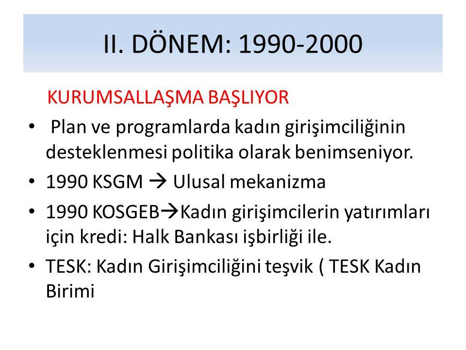II. DÖNEM: 1990-2000 KURUMSALLAŞMA BAŞLIYOR
