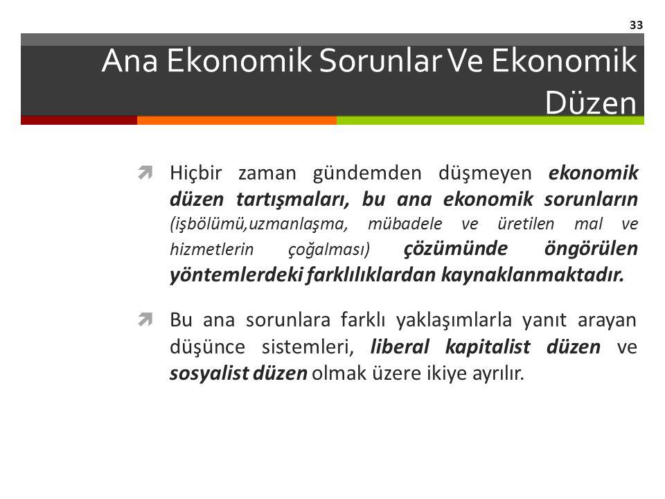 Ana Ekonomik Sorunlar Ve Ekonomik Düzen