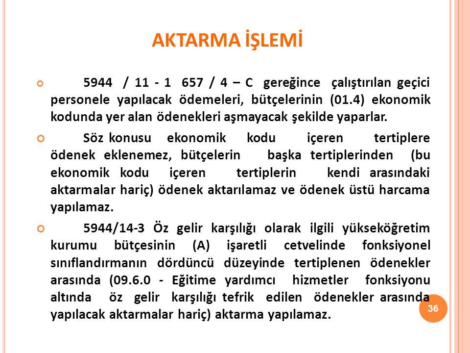 AKTARMA İŞLEMİ