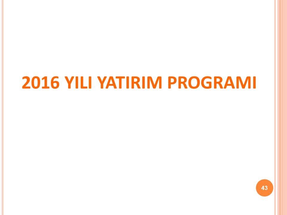 2016 YILI YATIRIM PROGRAMI