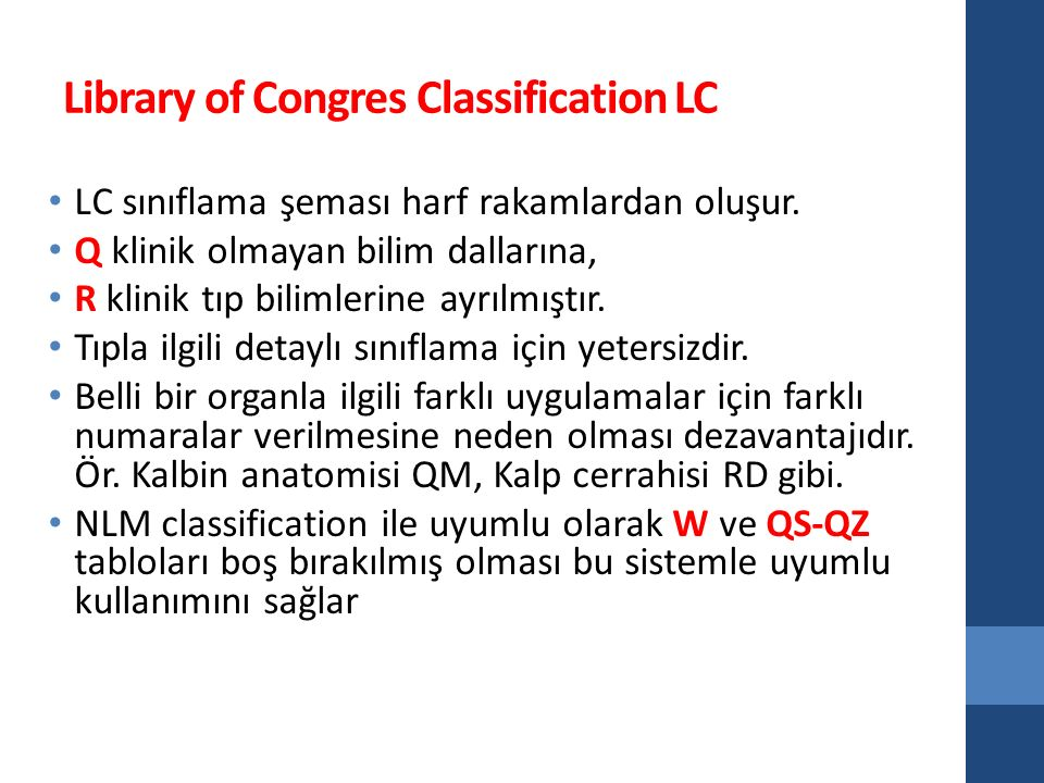Library of Congres Classification LC