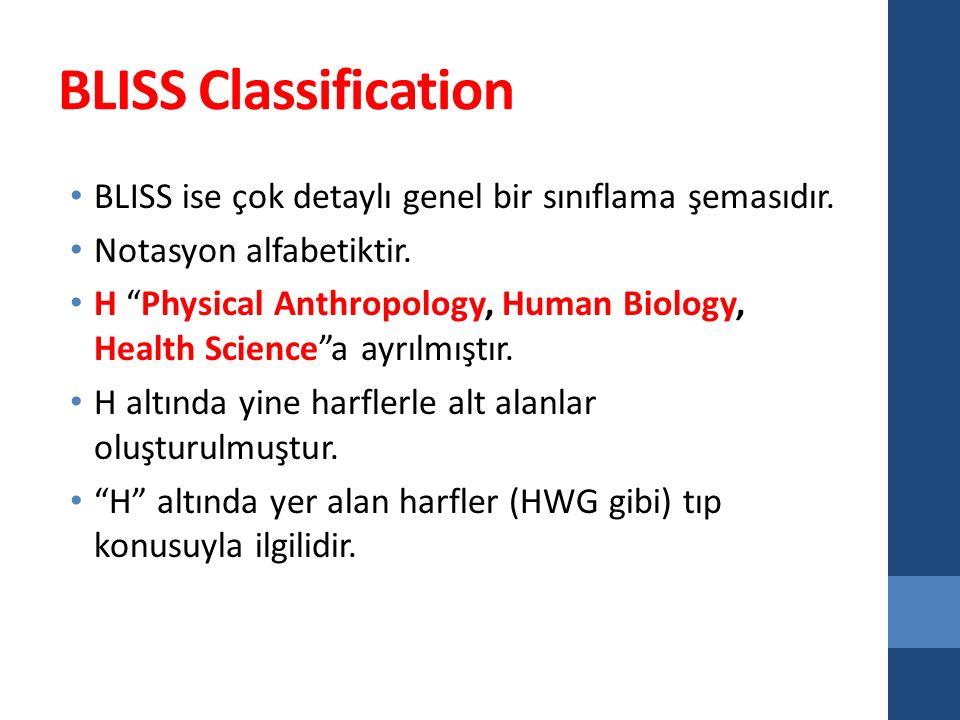 BLISS Classification BLISS ise çok detaylı genel bir sınıflama şemasıdır. Notasyon alfabetiktir.