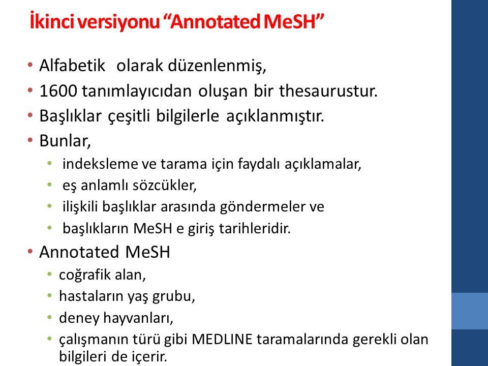 İkinci versiyonu Annotated MeSH
