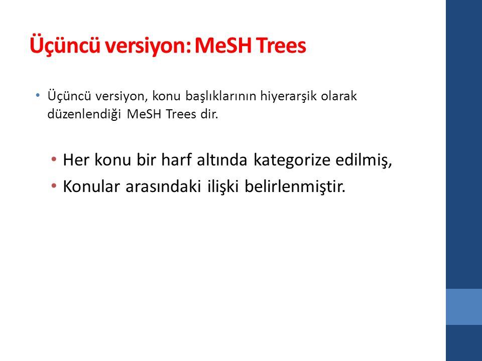 Üçüncü versiyon: MeSH Trees