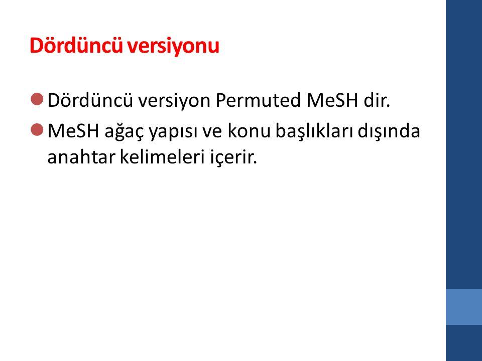 Dördüncü versiyonu Dördüncü versiyon Permuted MeSH dir.