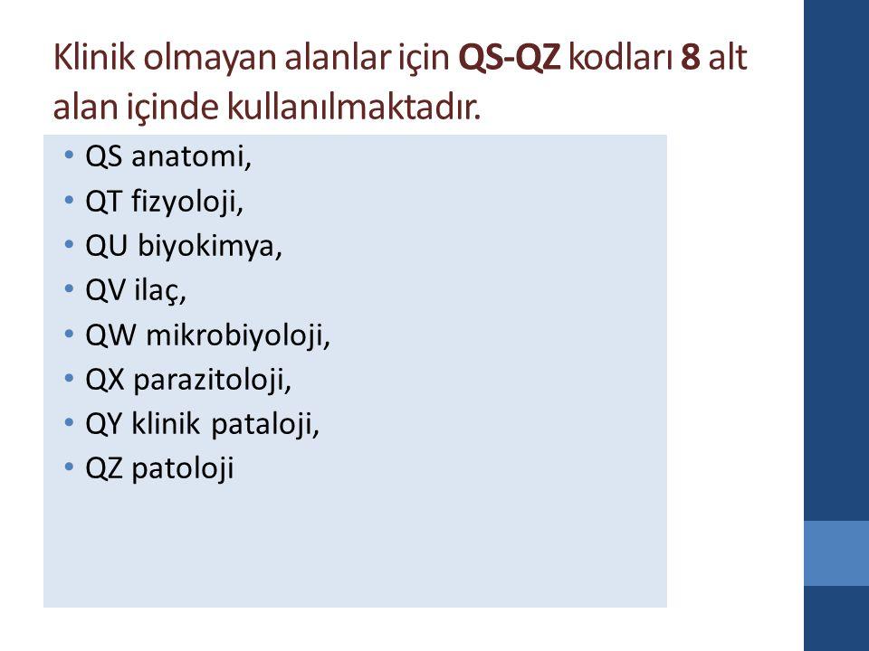 Klinik olmayan alanlar için QS-QZ kodları 8 alt alan içinde kullanılmaktadır.