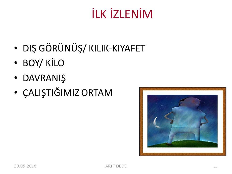 İLK İZLENİM DIŞ GÖRÜNÜŞ/ KILIK-KIYAFET BOY/ KİLO DAVRANIŞ
