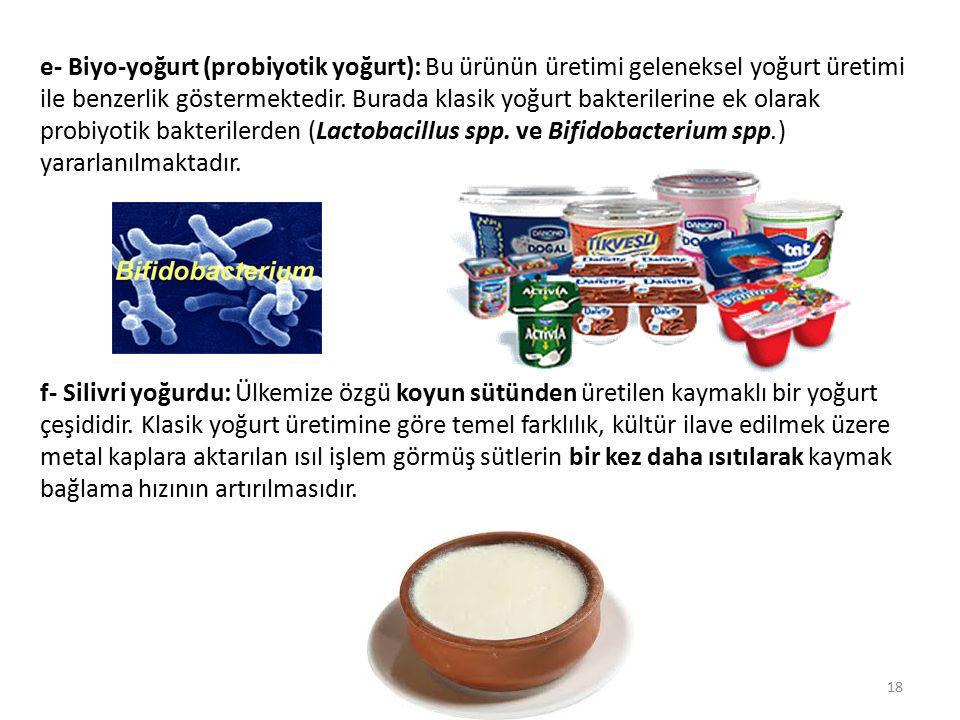 e- Biyo-yoğurt (probiyotik yoğurt): Bu ürünün üretimi geleneksel yoğurt üretimi ile benzerlik göstermektedir. Burada klasik yoğurt bakterilerine ek olarak probiyotik bakterilerden (Lactobacillus spp. ve Bifidobacterium spp.) yararlanılmaktadır.
