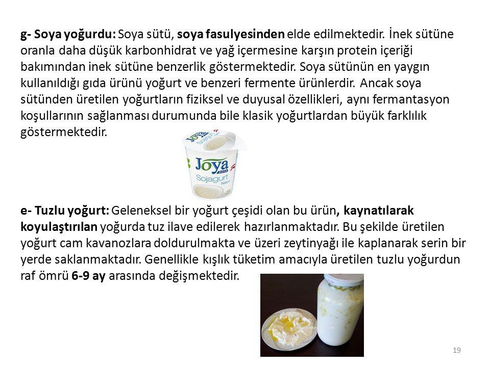 g- Soya yoğurdu: Soya sütü, soya fasulyesinden elde edilmektedir
