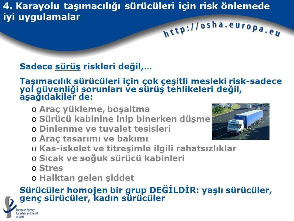 4. Karayolu taşımacılığı sürücüleri için risk önlemede iyi uygulamalar