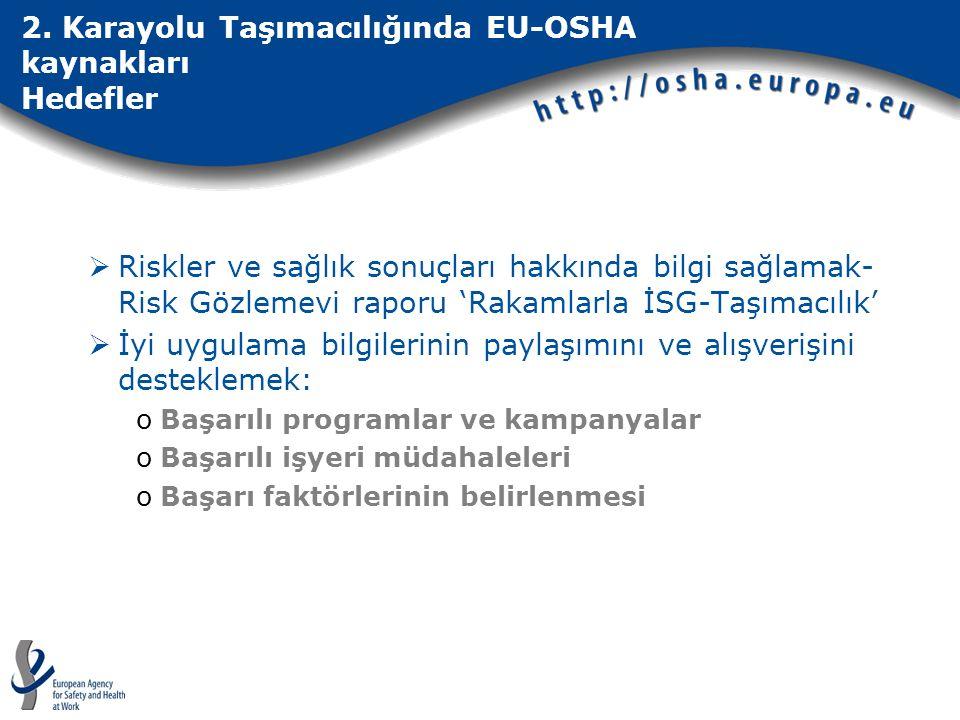 2. Karayolu Taşımacılığında EU-OSHA kaynakları Hedefler