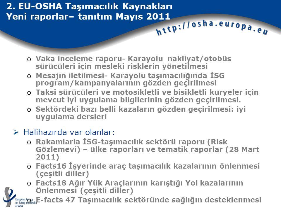 2. EU-OSHA Taşımacılık Kaynakları Yeni raporlar– tanıtım Mayıs 2011