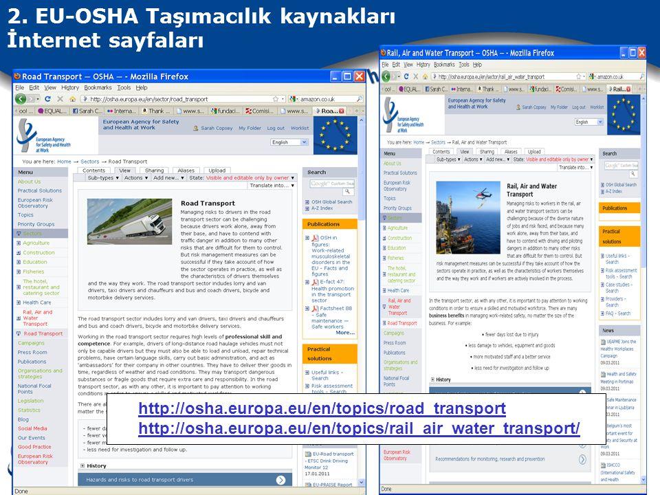 2. EU-OSHA Taşımacılık kaynakları İnternet sayfaları