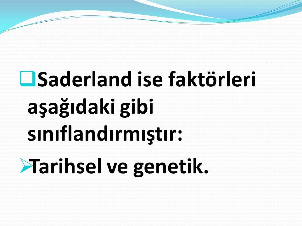 Saderland ise faktörleri aşağıdaki gibi sınıflandırmıştır: