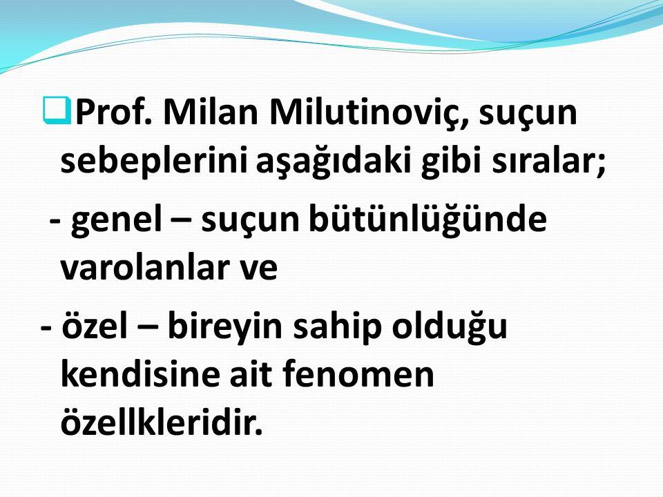 Prof. Milan Milutinoviç, suçun sebeplerini aşağıdaki gibi sıralar;
