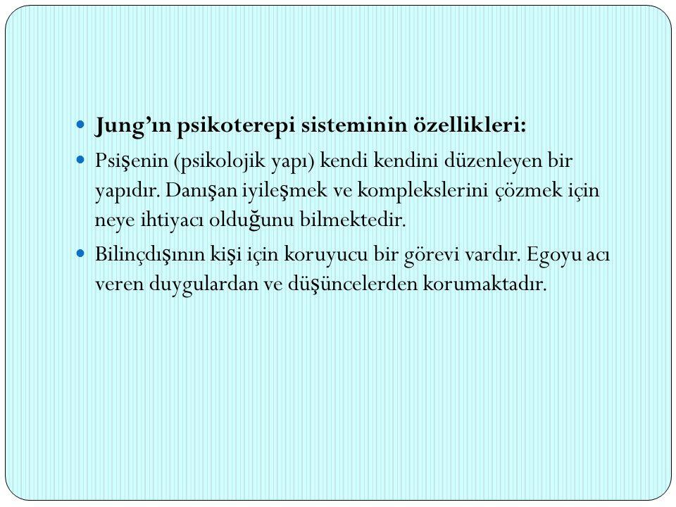 Jung'ın psikoterepi sisteminin özellikleri: