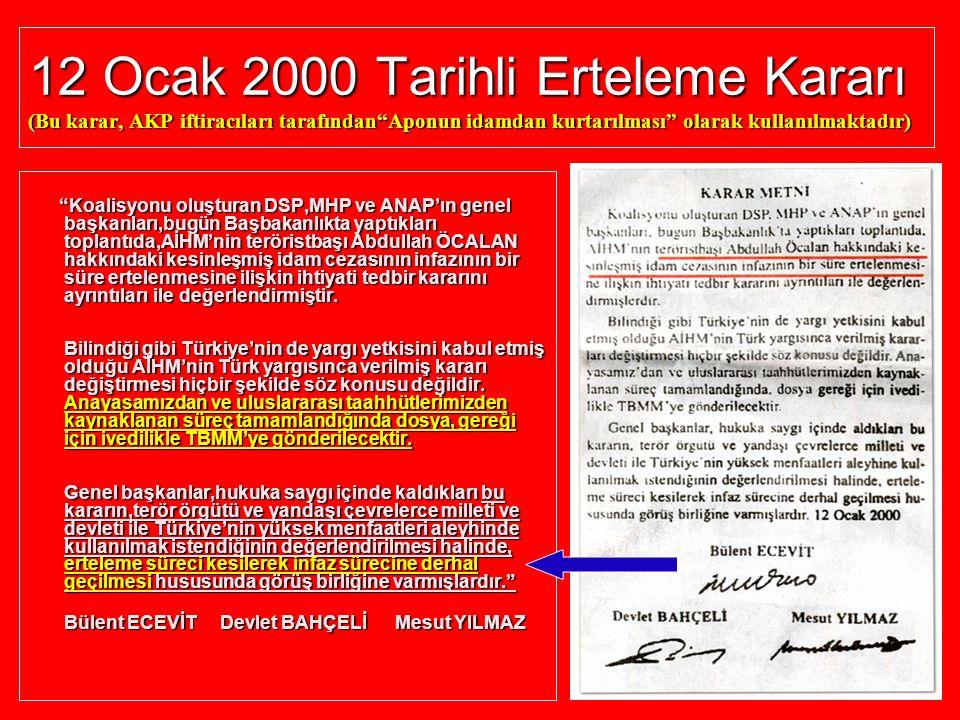 12 Ocak 2000 Tarihli Erteleme Kararı (Bu karar, AKP iftiracıları tarafından Aponun idamdan kurtarılması olarak kullanılmaktadır)