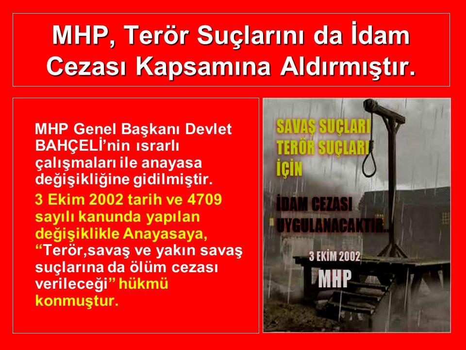 MHP, Terör Suçlarını da İdam Cezası Kapsamına Aldırmıştır.