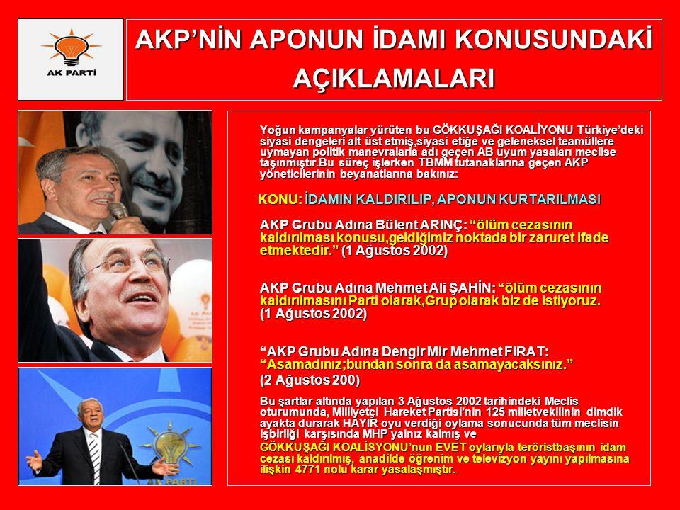 AKP'NİN APONUN İDAMI KONUSUNDAKİ AÇIKLAMALARI