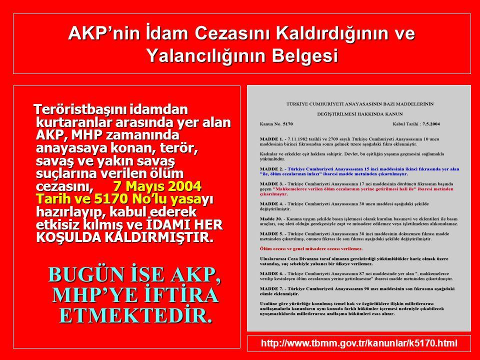 AKP'nin İdam Cezasını Kaldırdığının ve Yalancılığının Belgesi