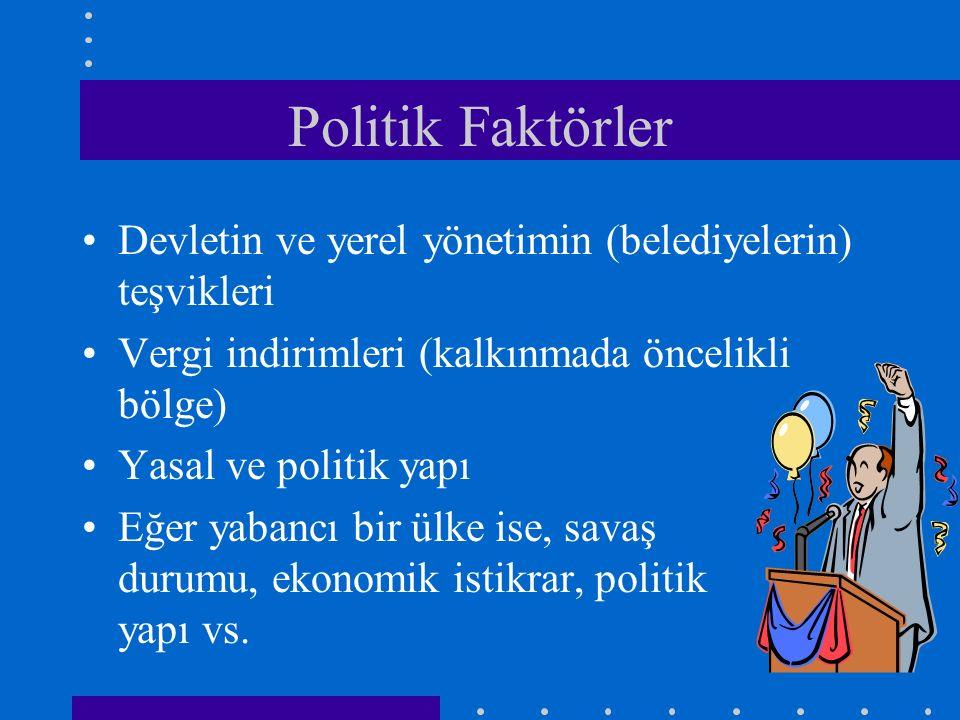 Politik Faktörler Devletin ve yerel yönetimin (belediyelerin) teşvikleri. Vergi indirimleri (kalkınmada öncelikli bölge)