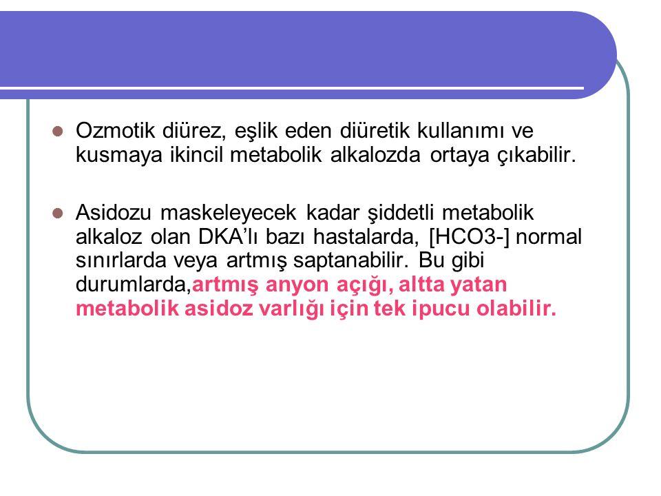 Ozmotik diürez, eşlik eden diüretik kullanımı ve kusmaya ikincil metabolik alkalozda ortaya çıkabilir.